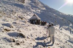 Zim przygody Szczyt carpathians Ukraina obraz royalty free