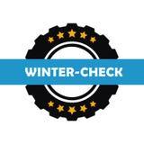 Zim samochodowych opon zimy czek odizolowywający na białym tle ilustracji