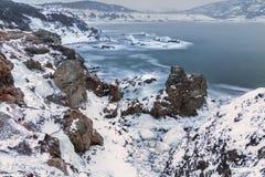 Zima, Łowi społeczności Pstrągowa rzeka Fotografia Royalty Free
