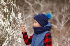Zima - śliczna dziecko chłopiec zabawę z śniegiem w zima parku Zdjęcie Royalty Free
