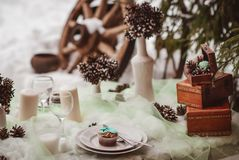 Zima ślubu stół fotografia stock
