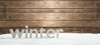 Zima śmiałych listów drewniany tło 3d-illustration Ilustracji
