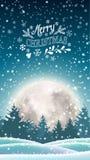 Zima śnieżny krajobraz z dużym shinny księżyc ilustracji