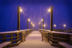 Zima śnieg, Łowi molo, Richmond, BC Obraz Royalty Free