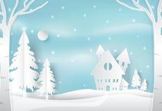 Zima śnieg w wsi z błękitem i wakacje Bożenarodzeniowi morza ilustracja wektor