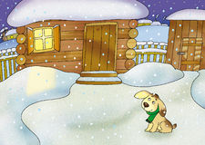 Zima. Winter village and yellow puppy Stock Images
