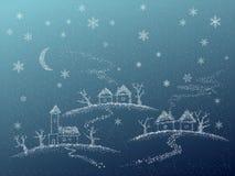 Zima abstrakcjonistyczna wsi karta. Ilustracji