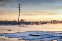 Zima Angara Miasto bulwar Angara rzeka na Niedzieli zimy pogodnym dniu irkutsk zima fotografia royalty free