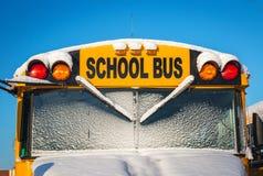 Zima autobus szkolny Zdjęcie Royalty Free