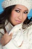zima azjatykcia kobieta Obrazy Royalty Free