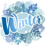 Zima - błękitny tło z paprociami, liśćmi i płatek śniegu, ilustracja wektor