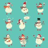 Zima bałwanu set Śmieszni bałwany w różnych kostiumach wektor Zdjęcie Stock