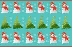 Zima bałwanu ornamentu wzór Zdjęcia Stock