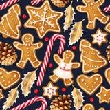 Zima bezszwowi wzory z piernikowymi ciastkami Zdjęcia Royalty Free