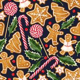 Zima bezszwowi wzory z piernikowymi ciastkami Fotografia Royalty Free