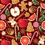 Zima bezszwowi wzory z piernikowymi ciastkami Zdjęcie Royalty Free