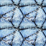Zima bezszwowy reliefowy wzór kamienie zakrywający z lodowymi kryształami i marznąć gałązkami obrazy stock
