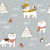 Zima bezszwowy wzór z ślicznymi zwierzętami domowymi royalty ilustracja