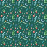 Zima bezszwowy wzór z boże narodzenie dekoracjami na zielonym tle ilustracja wektor