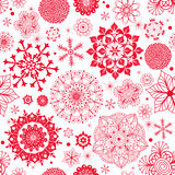 Zima bezszwowy wzór z czerwonymi płatkami śniegu Zdjęcie Royalty Free