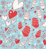 Zima bezszwowy wzór z kwiatami, sercami i płatkami śniegu, Niekończący się koronkowy tło dla druków, tkanina, scrapbooking, rzemi Fotografia Stock