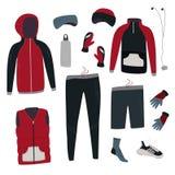 Zima bieg przekładnia Set odzieżowy zima i akcesoria dla biegać również zwrócić corel ilustracji wektora fotografia stock