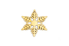 Zima, boże narodzenia, nowy rok drewniana dekoracja - płatek śniegu, gwiazda Obraz Royalty Free