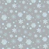 Zima Bożenarodzeniowy bezszwowy wzór, świąteczny Spada śnieg, płatek śniegu, curlicues, śnieżne piłki Stosowny dla prezenta opako royalty ilustracja