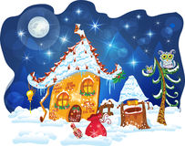 Zima bożenarodzeniowy dom ilustracja wektor
