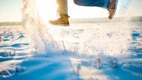 Zima buty skacz szczęśliwy Fotografia Royalty Free