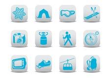 Zima camping narciarskie ikony/ Fotografia Stock