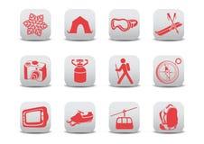 Zima camping narciarskie ikony/ Zdjęcia Stock