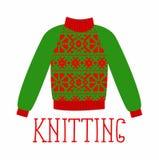 Zima ciepły pulower z ornamentem, cukierki strzał, bluza dla dzianiny, czerwonego i zielonego koloru, Fotografia Stock
