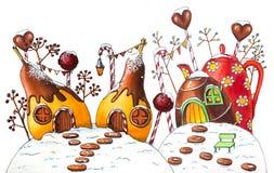 Zima cukierku ziemi ulica z jagodami i cukierkami obrazy stock