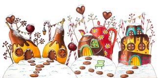 Zima cukierku ziemi ulica z jagodami i cukierkami zdjęcie royalty free