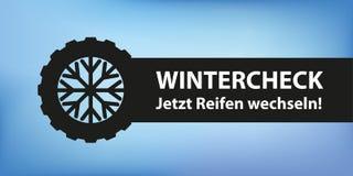 Zima czeka samochodowe opony z płatka śniegu sztandarem ilustracji