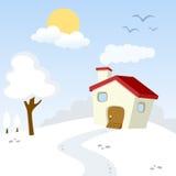 Zimy wsi krajobraz Obraz Royalty Free
