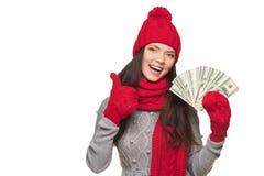 Zima dolara amerykańskiego kobieta Obrazy Stock