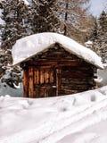 Zima dolomitów kabiny las Zdjęcie Stock