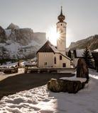 Zima dolomitów kościół zmierzch Fotografia Stock