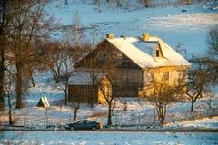 Zima domu krajobraz Obraz Royalty Free