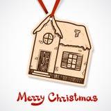 Zima domu papieru śliczna etykietka na faborku Zdjęcia Royalty Free