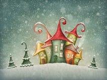 Zima domy Zdjęcie Royalty Free