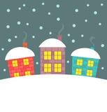 Zima domy Obrazy Stock