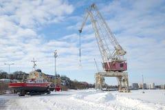 Zima dzień przy miasto portem Kotka zdjęcia royalty free