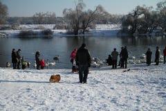 Zima dzień przy rzeką Zdjęcia Royalty Free