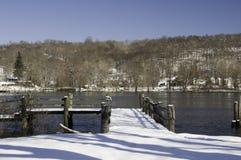 Zima dzień na Connecticut rzece Zdjęcia Royalty Free
