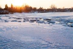 Zima dzień na rzece Zdjęcia Stock