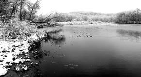 Zima dzień przy jeziorem Obrazy Stock
