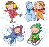 Zima dzieciaki Obraz Royalty Free